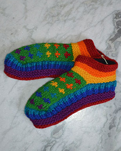 Rainbow Hand Knit Woolen Slippers
