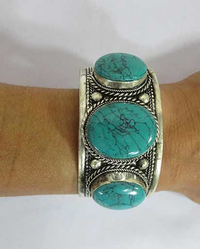 Hand Carved Three Stone Metal Bracelet