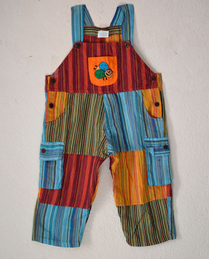 Childrens Patchwork Cotton Overalls