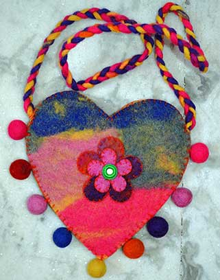 Heart Shape Child Felt Purse