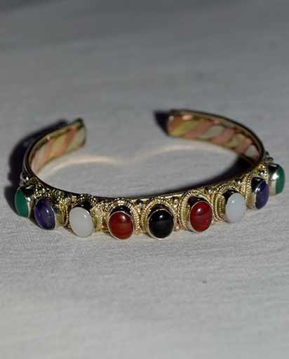 Three Metal Nine Stone Bracelet