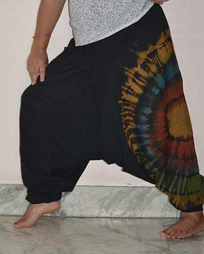 Side Tie Dyed Cotton Trousers