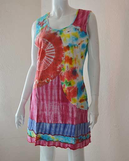 Tie Dye Frill Cotton Dresses
