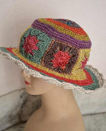 e90bbc9fe7f7f2 Hemp Cotton Flower Hats   Himalayan Exports