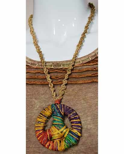 Hemp Peace Sign Necklace