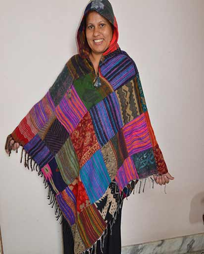 Patchwork Warm Hooded Poncho