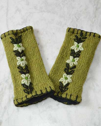 Embroidered Woolen Handwarmers