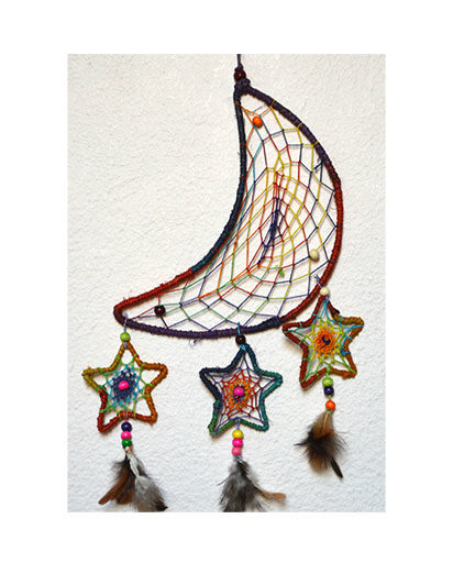 Hemp Moon Stars Dream Catcher