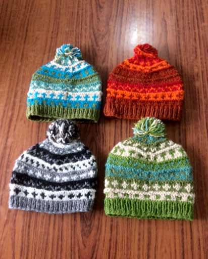 Hand Knit Woolen Fleece Line Hats