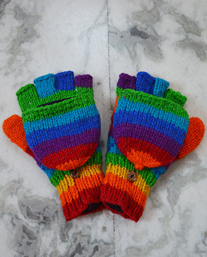 Woolen Rainbow Gloves