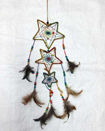 Three Stars Hemp Dream Catcher