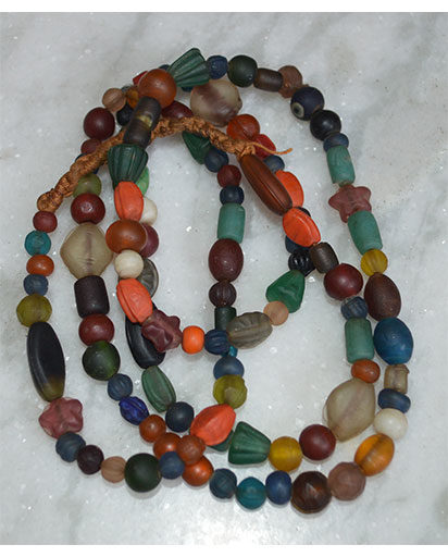 Old Colored Glass Beads Necklace
