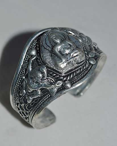 Hand Carved Metal Buddha Bracelet