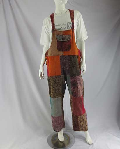Stonewashed Patch Cotton Overalls