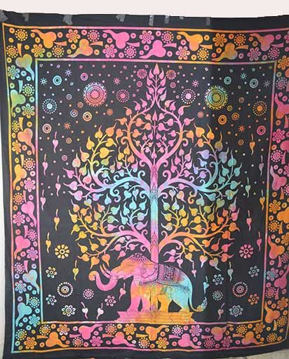 Multicolor Double Bed Cotton Tapestry