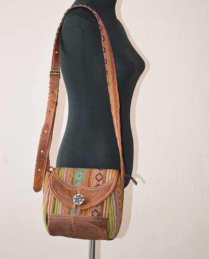 Leather Gheri Cotton Bag