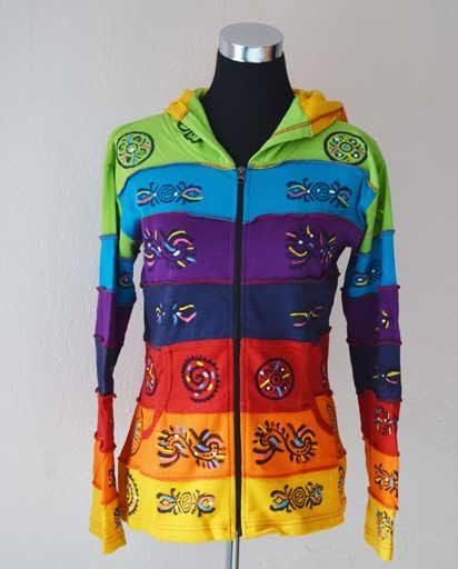 Rainbow Cotton Hoodie Jackets