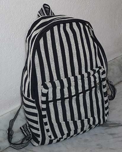 Black Stripe Cotton Backpacks