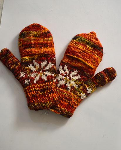 Multi Color Woolen Cover Gloves