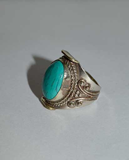 Hand Carved Turquoise Stone Metal Rings