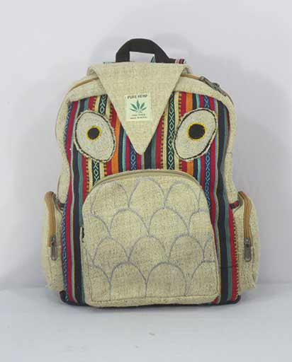 9116e92df2eb70 Handmade Hemp Owl Backpack   Himalayan Exports
