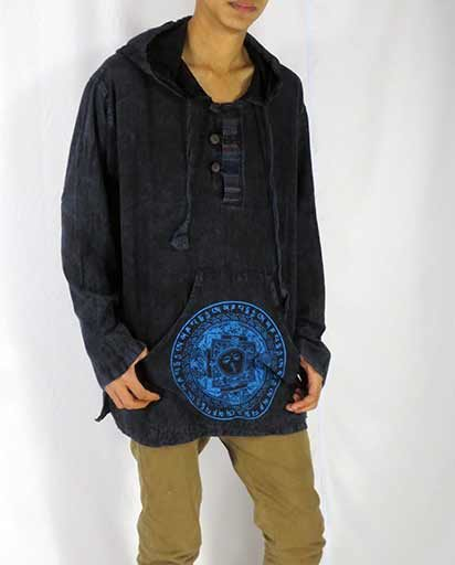 Enzyme Wash Men Hooded Kurtha