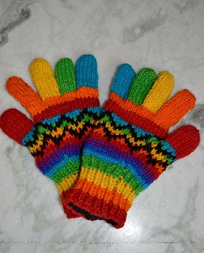Woolen Rainbow Fleece Lined Gloves