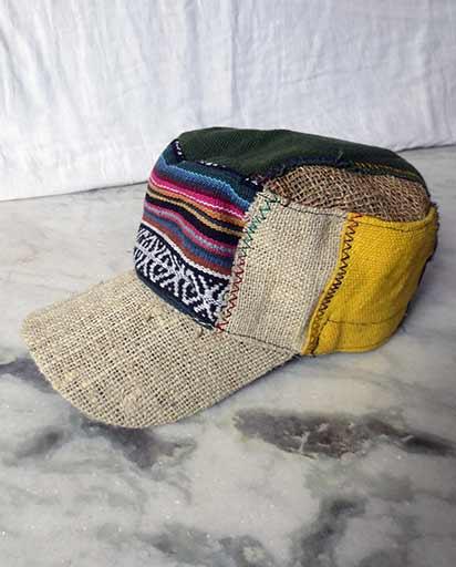 7caf15879da852 Patched Hemp Cotton Caps   Nepali Hats   Himalayan Exports