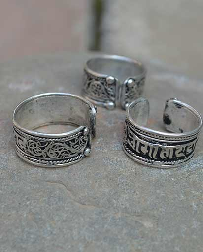 Filigree White Metal Tibetan Rings
