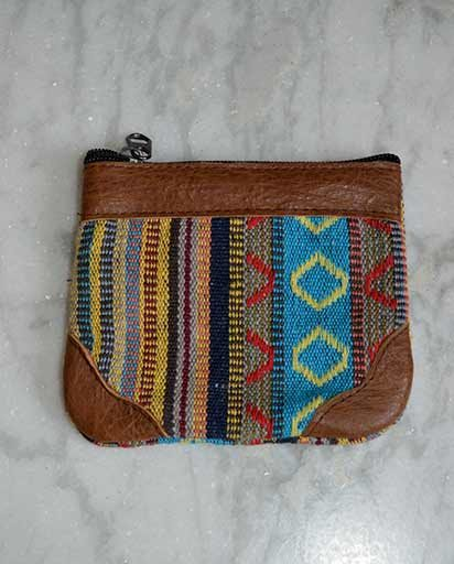 Buffalo Leather Cotton Coin Purse
