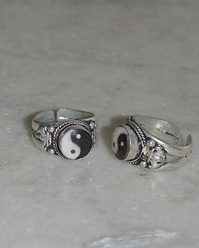 Yin Yang White Metal Rings