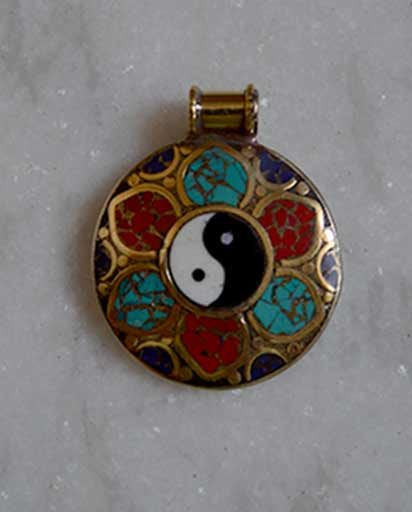 Handcarved Inlay Yin Yang Pendent