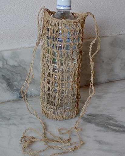Handmade Crochet Hemp Bottle Bags