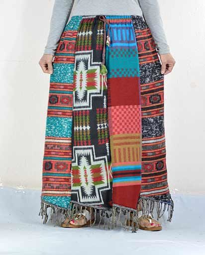 Long Patch Woolen Skirts