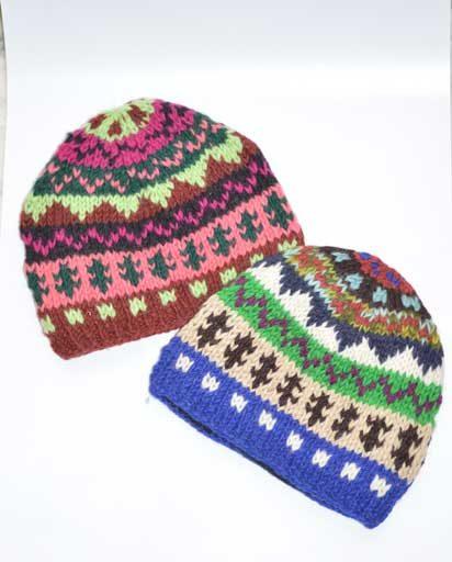 Multi Color Hand Knit Woolen Hats