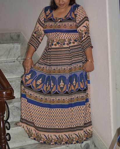 Rayon Wrinkled Long Dresses