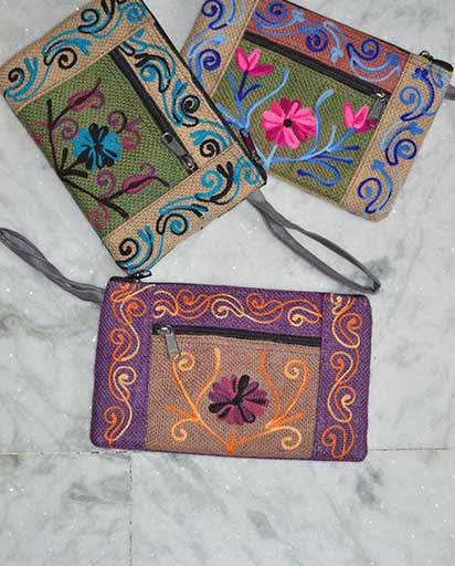 Embroidered Jute Purse