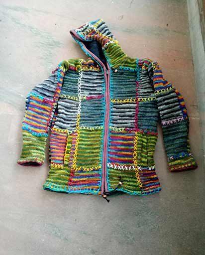 Multicolor Patches Woolen Jackets