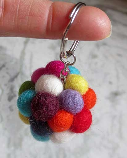 Handmade Felt Ball Key Rings