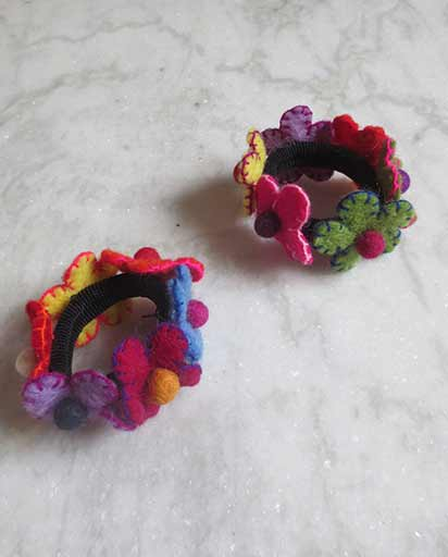 Handmade Wool Felted Hair Ties