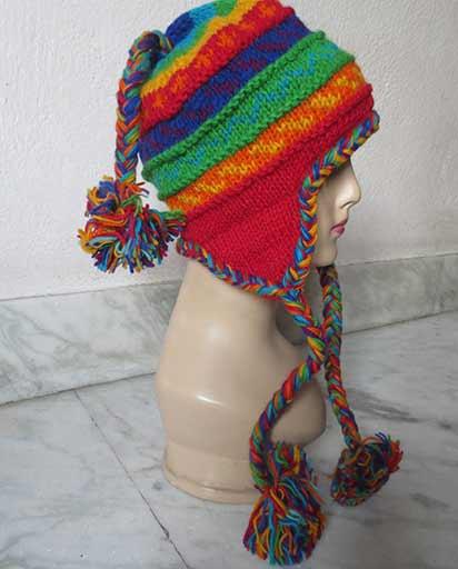 Hand Knit Woolen Rainbow Hats  153a8611622