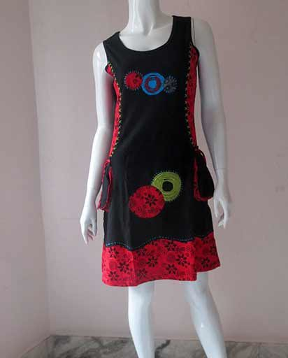 Round Patches Cotton Dress
