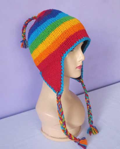 Hand Knitted Rainbow Woolen Hats
