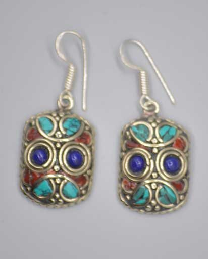 Owl Face Stone Inlaid Earrings