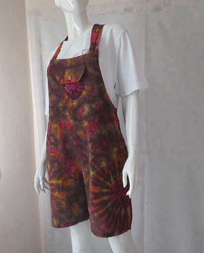 4726f7de51732 Tie Dye Short Cotton Dungarees