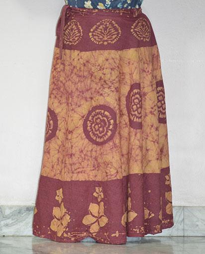 Stonewashed Batik Print Cotton Skirts