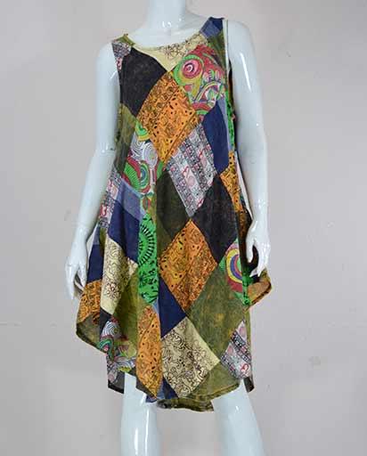Stonewashed Patch Cotton Dresses