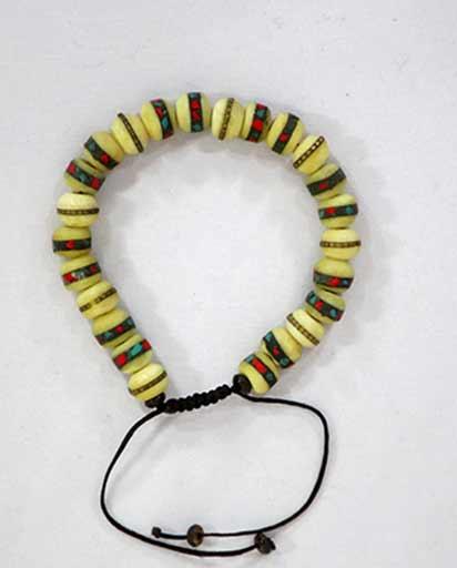 Hand Carved Bone Bead Bracelet