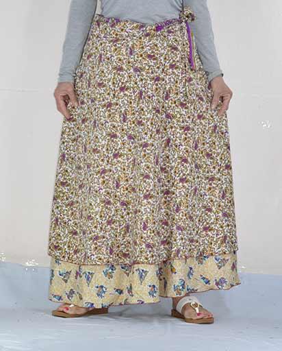 Silk Wrap Maxi Skirts