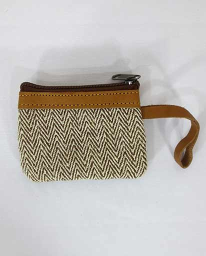 Leather Handwoven Cotton Purse